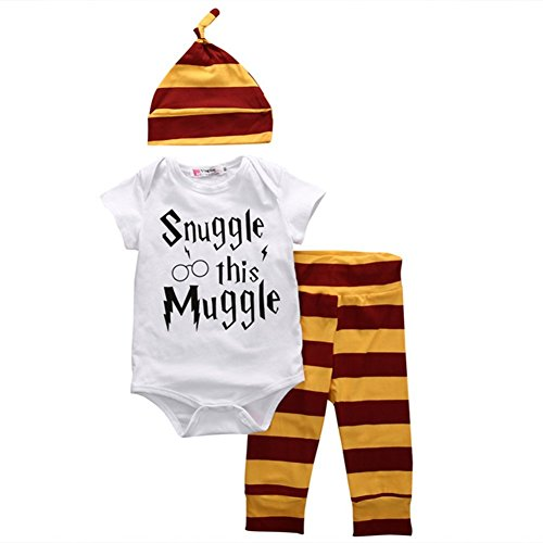 Baby Boys Girls Snuggle this Muggle Bodysuit and Striped Pants Outfit with Hat (100 (12-18M), White+Yellow)