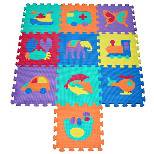 TLCmat Soft Foam Play Mat Puzzle with Animal and Transportation Pop-Out